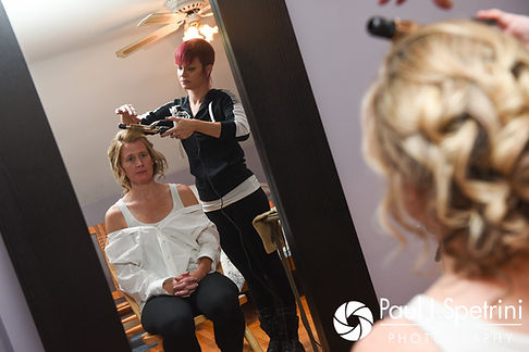Tricia has her hair done prior to her October 2017 wedding ceremony at St. Brendan Parish in Riverside, Rhode Island.