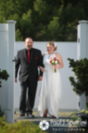 Latasha arrives to her May 2016 wedding ceremony at Country Gardens in Rehoboth, Massachusetts.