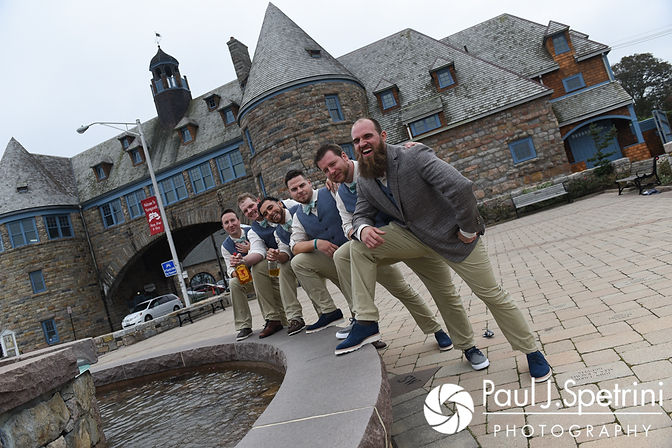 Gary poses for a photo with his groomsmen prior to his September 2017 wedding ceremony at North Beach Club House in Narragansett, Rhode Island.