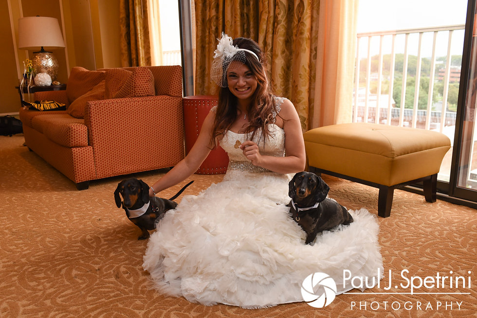 Nicky poses for a photo with her dogs prior to her September 2017 wedding ceremony at the Crowne Plaza Hotel in Warwick, Rhode Island.
