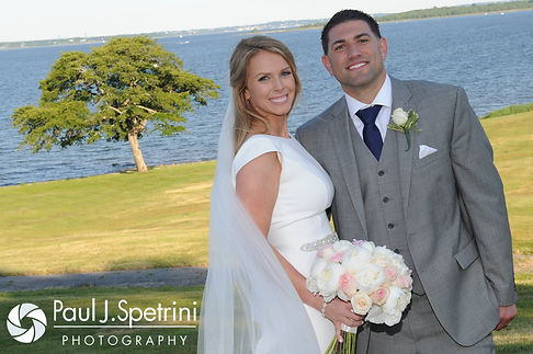 Amy and DJ smile for a photo during their June 2016 wedding reception at Aldrich Mansion in Warwick, Rhode Island.