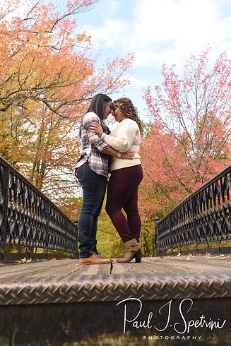 Brittany & Alisa pose for a photo during their October 2018 engagement session at Roger Williams Park in Providence, Rhode Island.