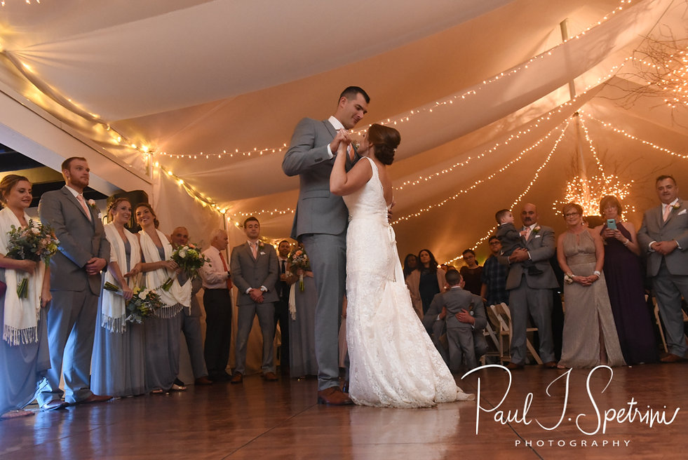 Amanda & Justin have their first dance during their November 2018 wedding reception at Five Bridge Inn in Rehoboth, Massachusetts.