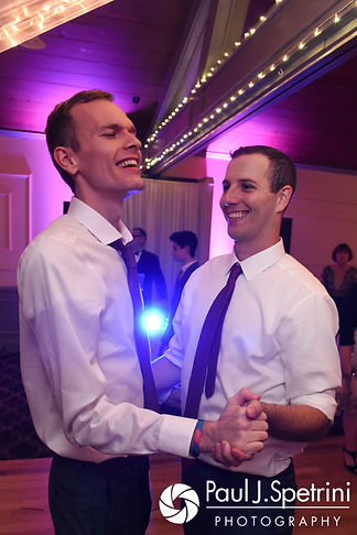 Keiran dances with a guest during his October 2017 wedding reception at Crystal Lake Golf Club in Mapleville, Rhode Island.