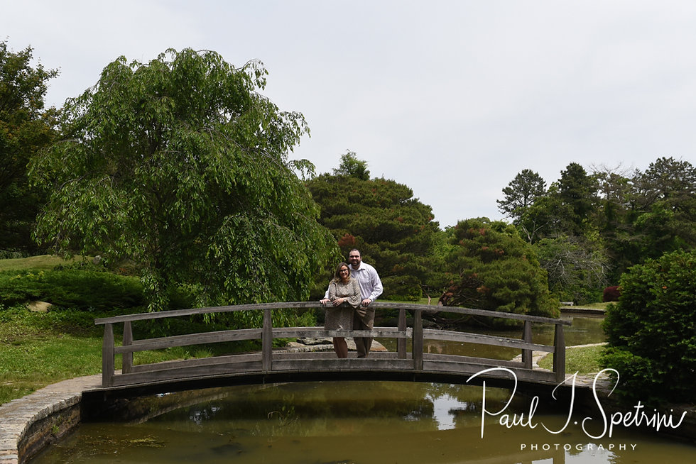 Sarah & Anthony pose for a photo during their June 2018 engagement session at the Japanese Gardens at Roger Williams Park in Providence, Rhode Island.