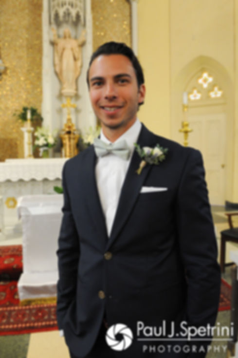 Bruce poses for a photo prior to his August 2017 wedding ceremony at St. Joseph Church in New London, Connecticut.