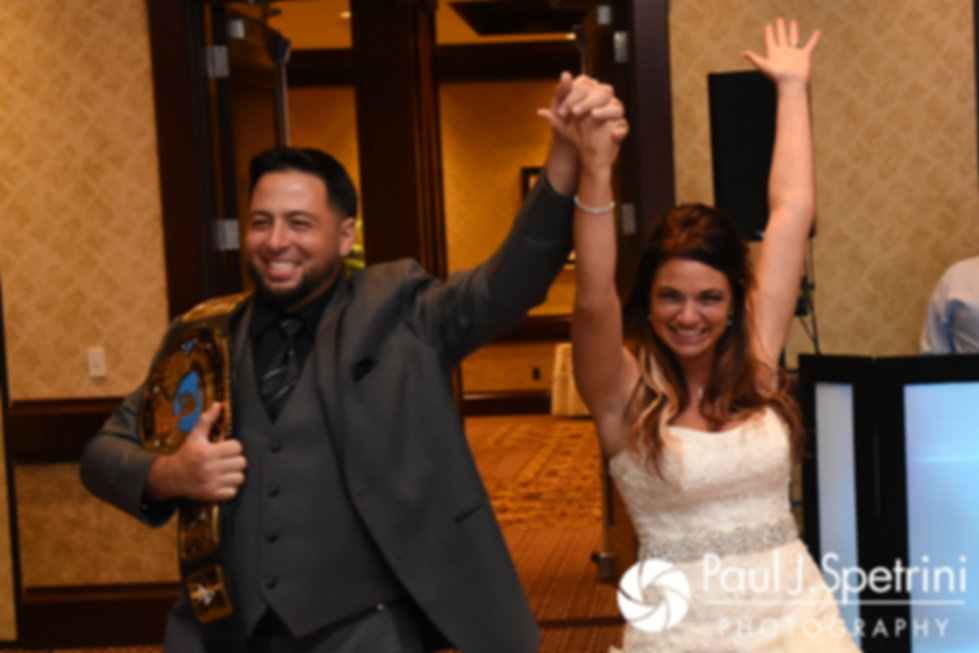 Dallas and Nicky enter the room during their September 2017 wedding reception at the Crowne Plaza Hotel in Warwick, Rhode Island.