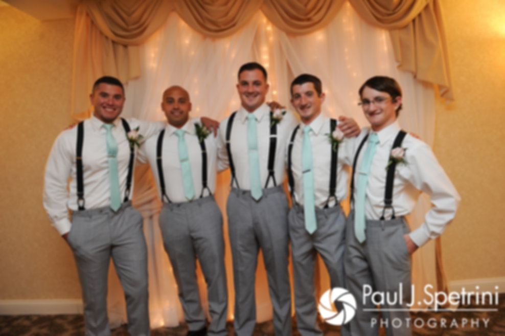 Sean and his groomsmen pose for a photo prior to his July 2017 wedding ceremony at Rachel's Lakeside in Dartmouth, Massachusetts.