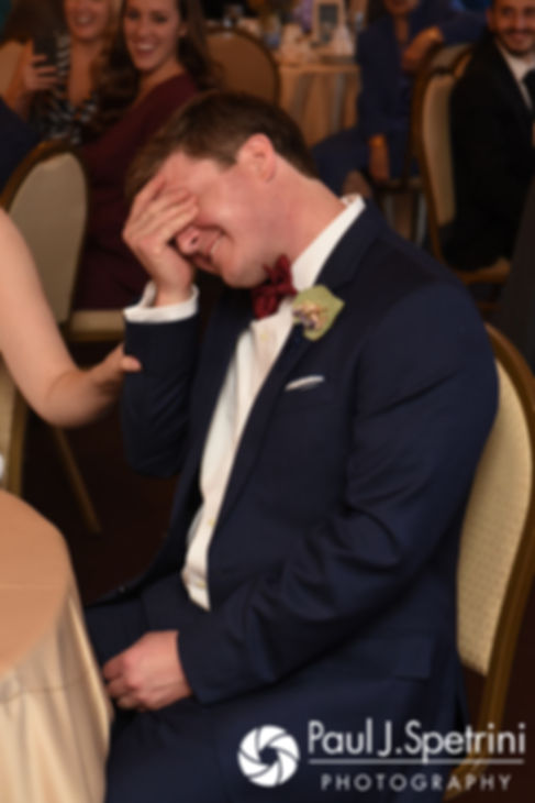 Mike reacts to the best man's toast during his October 2017 wedding reception at Castle Manor Inn in Gloucester, Massachusetts.