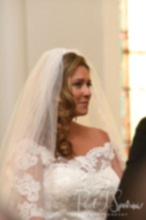 Cara look at Brandon during her November 2018 wedding ceremony at First Baptist Church in Hope Valley, Rhode Island.