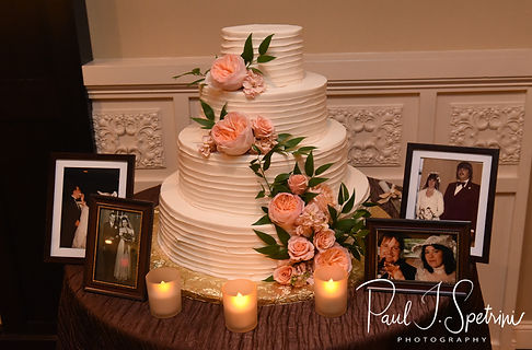 A look at the cake table during Katie & Steve''s October 2018 wedding reception at The Villa at Ridder Country Club in East Bridgewater, Massachusetts.