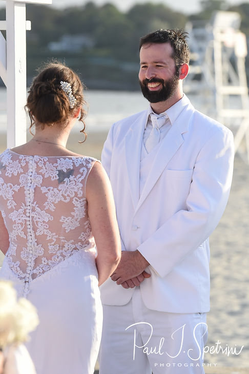 Mike looks at Selah during his August 2018 wedding ceremony at The Rotunda Ballroom at Easton's Beach in Newport, Rhode Island.