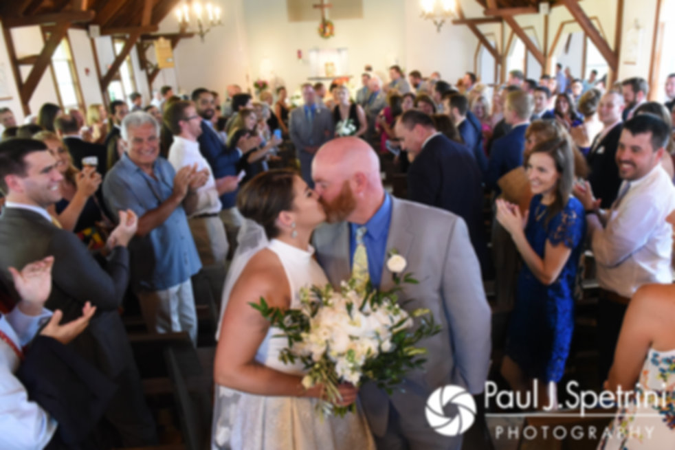 Molly and Tim dance during their June 2017 wedding reception at Farmhouse-By-The-Sea in Matunuck, Rhode Island.