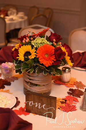 A look at the centerpieces prior to Justine & Jon's October 2018 wedding ceremony at Twelve Acres in Smithfield, Rhode Island.