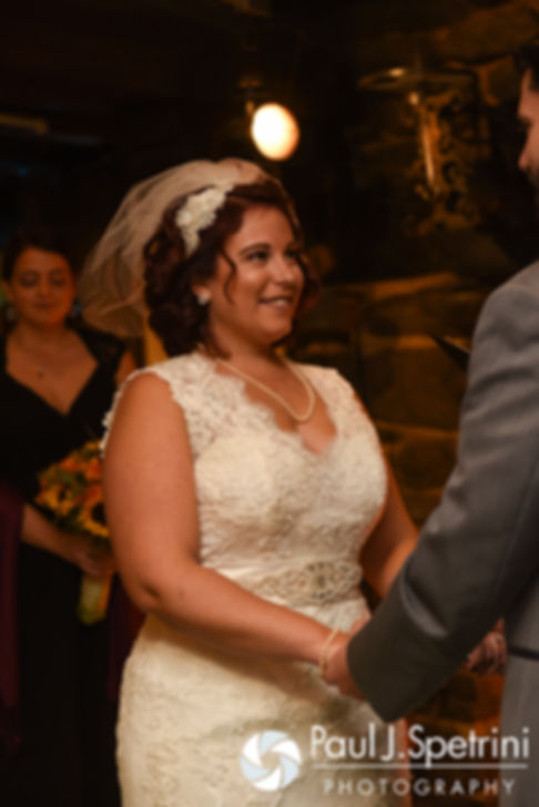 Crystal looks at Andy during her November 2016 wedding ceremony at the Salem Cross Inn in West Brookfield, Massachusetts.