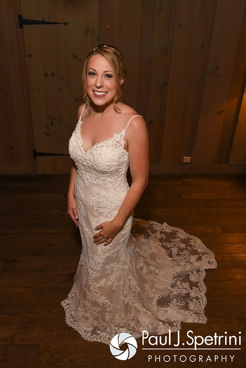 Kim smiles for a photo prior to her August 2016 wedding at Whispering Pines Conference Center in West Greenwich, Rhode Island.