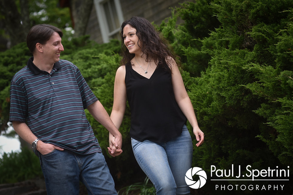 Amanda and Josh take a walk down a set of stairs at Goddard Park in East Greenwich, Rhode Island during their May 2017 engagement photo session.