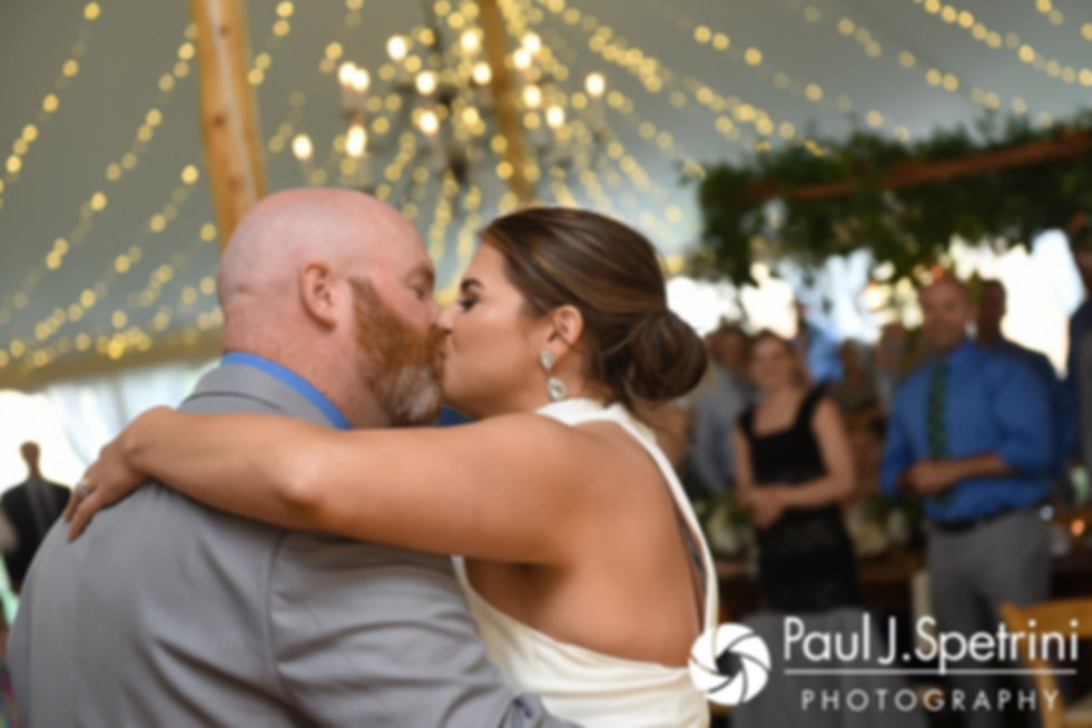 Molly and Tim kiss during their June 2017 wedding reception at Farmhouse-By-The-Sea in Matunuck, Rhode Island.