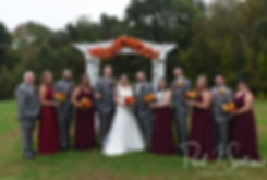 Justine & Jon pose for a formal photo with their wedding party following their October 2018 wedding ceremony at Twelve Acres in Smithfield, Rhode Island.