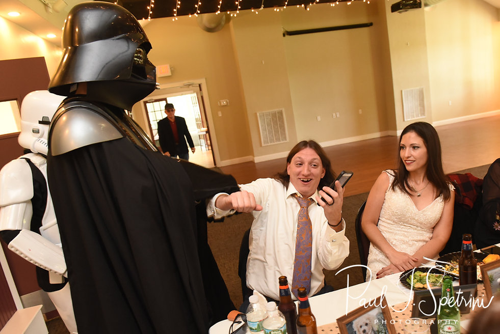 Josh is taken away by Darth Vader during his October 2018 wedding reception at Loon Pond Lodge in Lakeville, Massachusetts.
