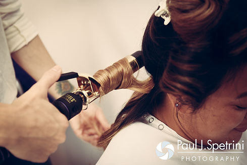 Lisajean has her hair done prior to her October 2016 wedding ceremony at St. Thomas More Church in Narragansett, Rhode Island.