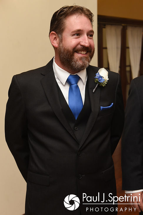 Kevin smiles as he sees Joanna during his October 2017 wedding ceremony at Cranston Country Club in Cranston, Rhode Island.
