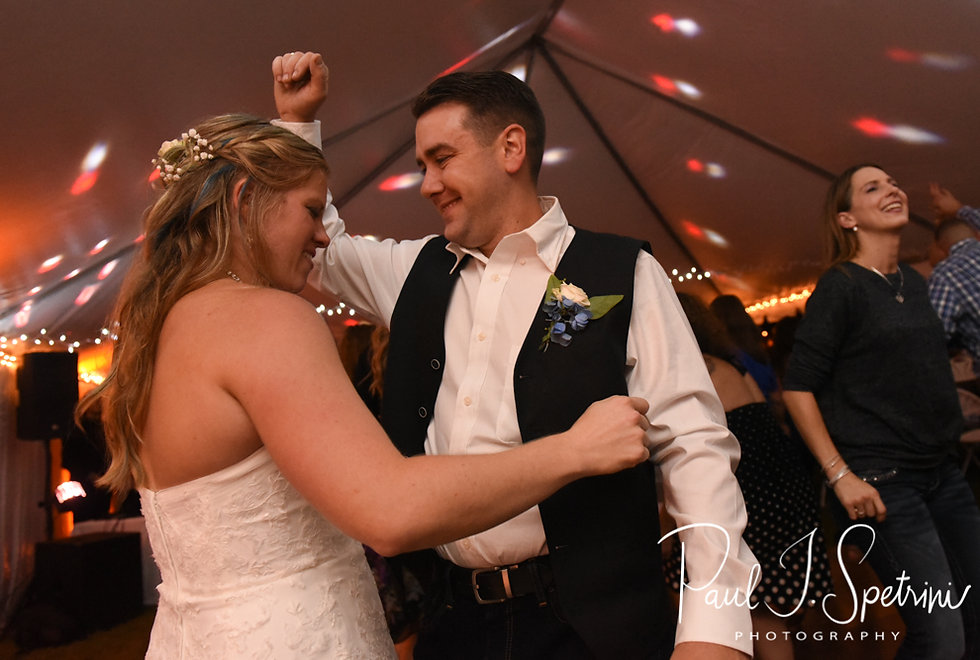 Kim and Josh dance during their September 2018 wedding reception at their home in Coventry, Rhode Island.
