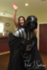 Amanda rides Darth Vader during her October 2018 wedding reception at Loon Pond Lodge in Lakeville, Massachusetts.