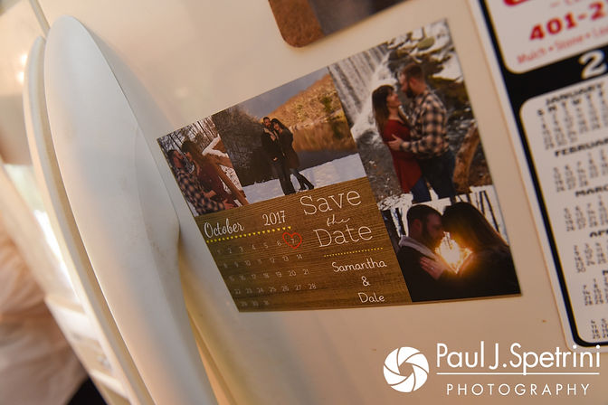 A look at the Save the Date on Samantha's mother's fridge prior to Samantha and Dale's October 2017 wedding ceremony at St. Robert's Church in Johnston, Rhode Island.