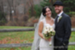 Emma and Mike smile for a formal photo during their November 2015 wedding at the Publick House in Sturbride Massachusetts