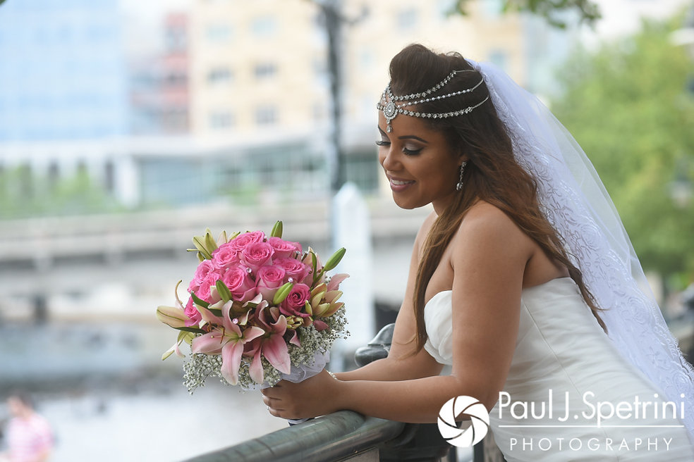 Lucelene poses for a photo prior to her June 2017 wedding ceremony at Waterplace Park in Providence, Rhode Island.