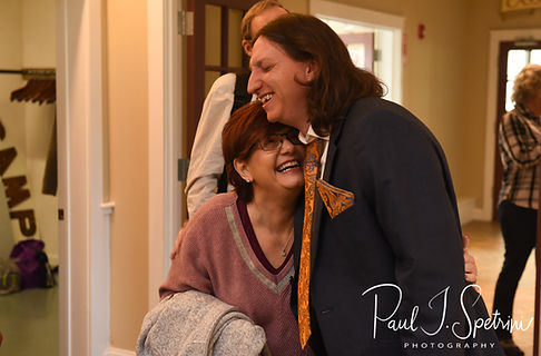 Josh hugs a guest during his October 2018 wedding reception at Loon Pond Lodge in Lakeville, Massachusetts.