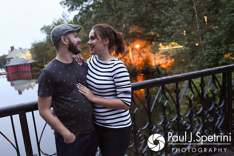 Alison and Gary pose for a photo at Roger Williams Park in Providence, Rhode Island during their September 2017 engagement session.