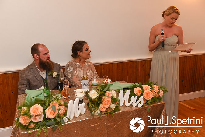 The maid of honor gives a speech during Arielle and Gary's September 2017 wedding reception at North Beach Club House in Narragansett, Rhode Island.