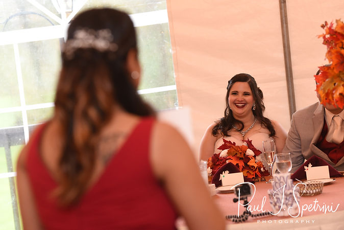 One of the two maids of honor gives a toast during Rich & Makayla's October 2018 wedding wedding reception at Zukas Hilltop Barn in Spencer, Massachusetts.