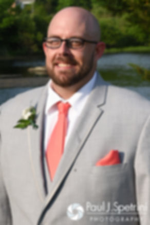 Eric smiles for a formal photo during his May 2016 wedding at Hillside Country Club in Rehoboth, Massachusetts.
