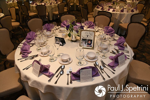A look at Melissa and Jordan's table settings , on display during their May 2017 wedding reception at Independence Harbor in Assonet, Massachusetts.