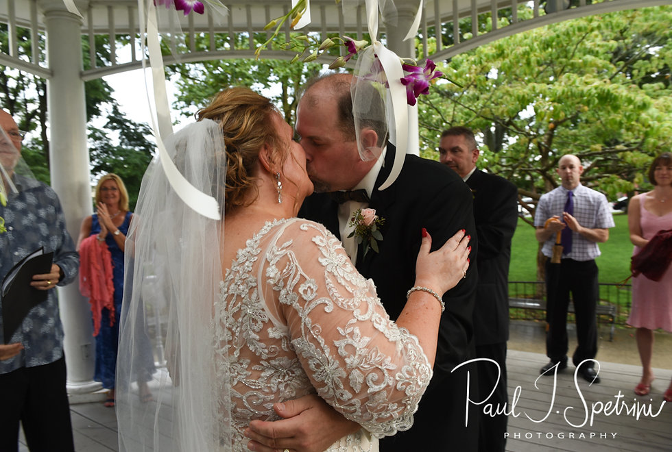Patti and Bob kiss during their August 2018 wedding ceremony at the Walter J. Dempsey Memorial Bandstand in Norwood, Massachusetts.