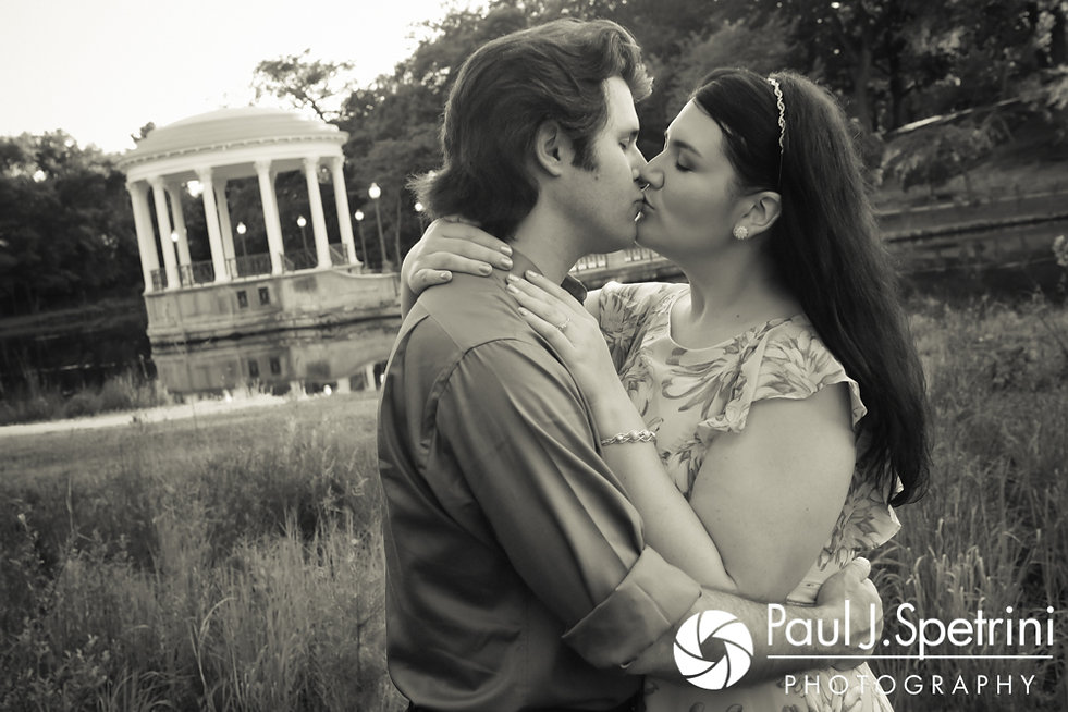 Allison and Len share a kiss at the Roger Williams Park Casino in Providence, Rhode Island during their June 2017 engagement photo session.
