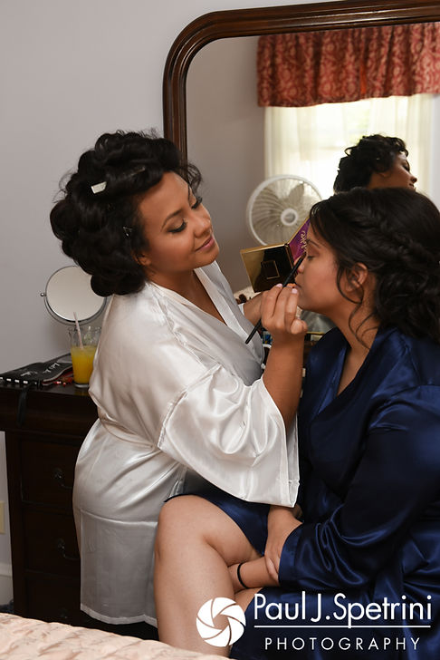 Stephany helps her sister with her makeup prior to her September 2017 wedding ceremony at Wannamoisett Country Club in Rumford, Rhode Island.
