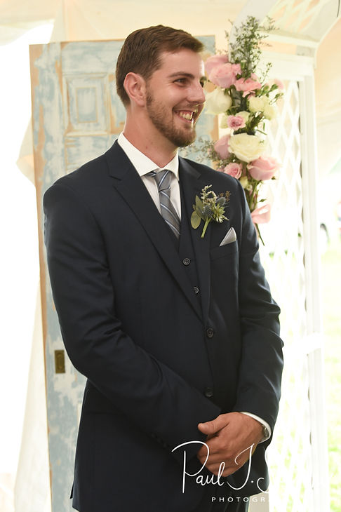 Ethan sees Karolyn for the first time during his August 2018 wedding ceremony at a private residence in Sterling, Connecticut.