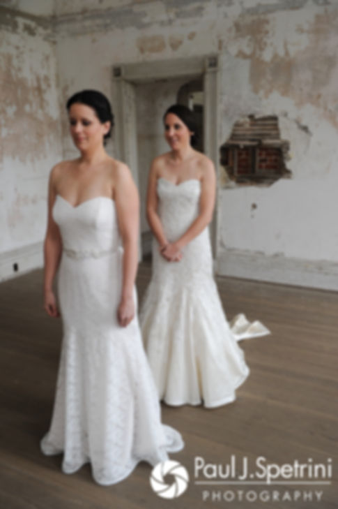 Morgan and Caroline prepare for a first look prior to their April wedding ceremony at the Fort Adams Trust in Newport, Rhode Island.