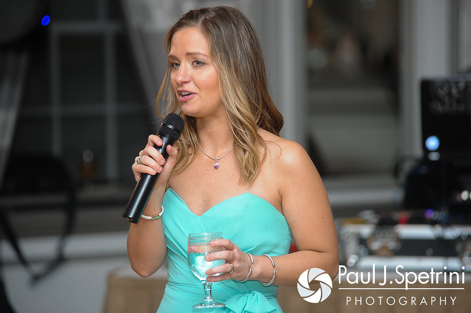 Angela's maid of honor delivers a toast at her spring 2016 Rhode Island wedding at the Hotel Viking in Newport, Rhode Island.