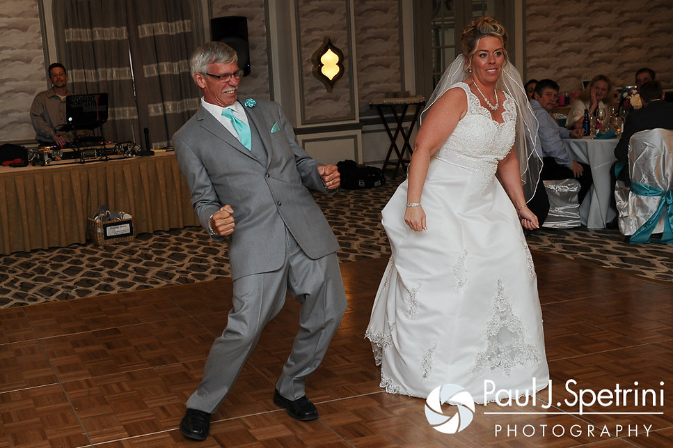 Angela and her dad tear up the dance floor at her spring 2016 Rhode Island wedding at the Hotel Viking in Newport, Rhode Island.