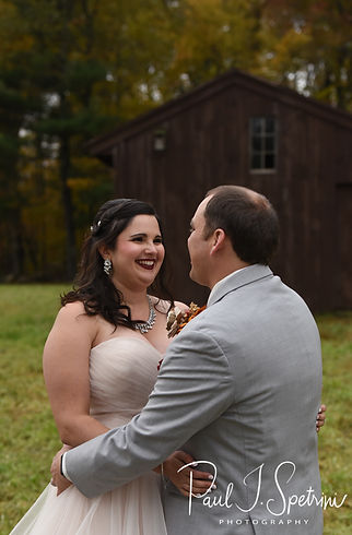 Rich & Makayla pose for a formal photo following their October 2018 wedding ceremony at Zukas Hilltop Barn in Spencer, Massachusetts.