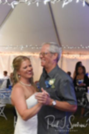 Kim and her father dance during her September 2018 wedding reception at their home in Coventry, Rhode Island.