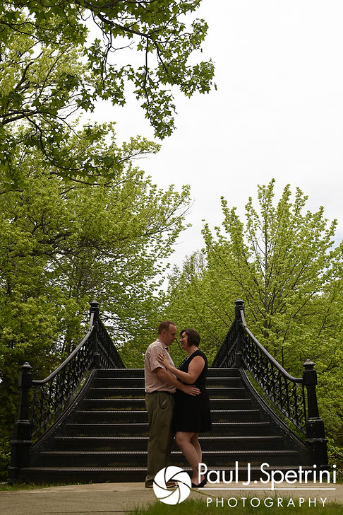 Ashley and Robert take a photo together at the Roger Williams Park Iron Footbridge during their May 2017 engagement photo session.