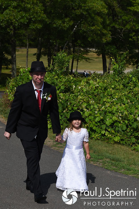 Chris and his daughter arrive to his summer wedding at the Quabbin Reservoir Observation Tower in Belchertown, Massachusetts on July 2nd, 2016.
