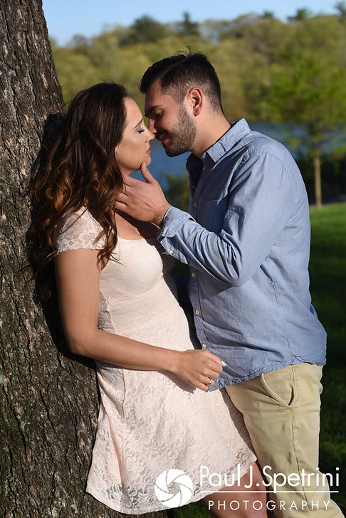 Stacey and John pose for a photo near the Temple of Music at Roger Williams Park in Providence, Rhode Island during their May 2017 engagement shoot.