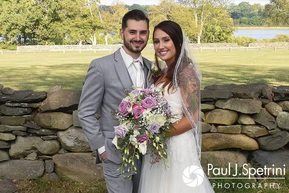 Stacey and John pose for a formal photo following their September 2017 wedding ceremony at Colt State Park in Bristol, Rhode Island.
